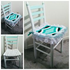 This little antique chair was in the trash before I rescued it! I brought it home, gave it a bath and sanded it to remove the old peeling finish. I gave it a sweet Shabby Chic makeover with Shabby Paints Snow White, Mojito, Stunning Silver, Pearl White Shimmer and Shabby Varnish. I got a new little seat cushion and sewed a cute new seat cover for it.  To see what it looked like before, head over to the blog for photos! #shabbypaints #shabbychic #antiquechair #farmhouse