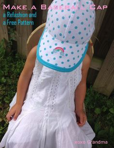To make your own baseball cap, grab a onesie or tee shirt that your child has out grown.