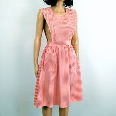 70s Vintage CANDY STRIPER Apron Dress
