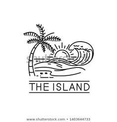 beach waves on tropical islands, line art style design Hawaii Waves, Beach Waves, Tracing Pictures, Sea Logo, Island Tattoo, Waves Logo, Bible Verse Art, Line Drawing, Beach Drawing