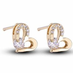 4mm 18K Gold Plated Fashion Shining Heart Shaped Inlaid Zircon Ladies Copper Earrings