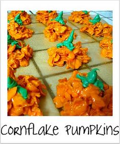 Only if your pumpkins have cornflakes disease. Or if your cornflakes have pumpkin disease Halloween Goodies, Theme Halloween, Holidays Halloween, Halloween Treats, Halloween Stuff, Happy Halloween, Halloween Magic, Halloween Baking, Halloween Desserts