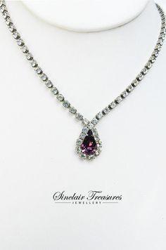 Vintage February Amethyst Teardrop Crystal by PegsVintageJewellery, $19.00