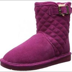 Bearpaw Leigh Anne Youth Suede Winter Boot Youth Bearpaw. Cold outside? No problem! Warm and wooly on the inside, soft suede on the outside, the Leigh Anne also features a pretty quilted pattern on the shaft, and a cute decorative buckle. She will feel Lovely and Amazing wearing the Leigh Anne. Original box not available. Bearpaw Shoes Ankle Boots & Booties