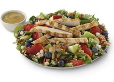Chick-fil-A Grilled Market Salad! Two fruit & one veggie serving in each salad PLUS 23 grams of protein! AND you can pick it up in the morning to eat at lunch (get breakfast and lunch at the same time!)
