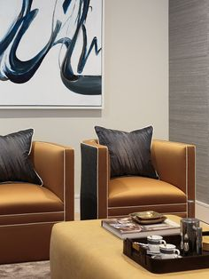 Curved back armchairs with contrast piping and abstract artwork #interiordesign…