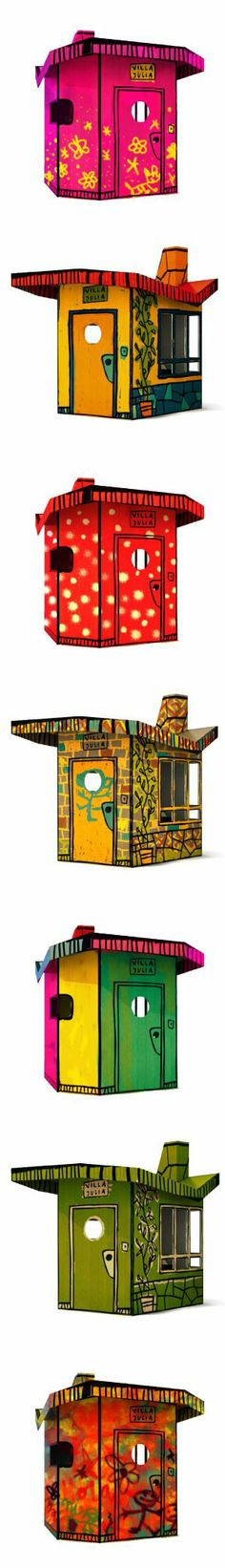 Casa Julia (2009): a cartoonish cardboard playhouse that children could set up themselves, move wherever they pleased, and individualize by coloring between -or outside- the lines. by Javier Mariscal