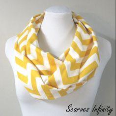 Yellow Chevron Zig Zag Infinity Scarf with slub yarn - Long Modern Circle  Scarves - 7 92f6c711dcb