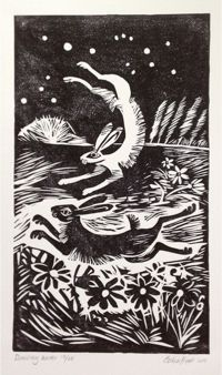 check out the work of celia hart.. here we have: Dancing Hares - linocut print prints nature woodcut rabbits birds animals love valentines primitive