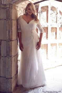 This elbow length plus size bridal dress has a v-neck the gathers on the bodice are flattering. We can produce totally custom #plussizeweddingdresses like this for you at a great price. We are in the USA and also offer brides #replicas of couture gowns for much less than the original couture price. Contact us for pricing and more details on our main website at www.dariuscordell.com