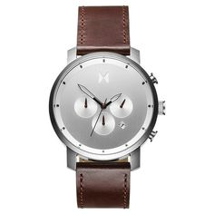 Chrono Silver/Brown Leather – MVMT Watches