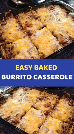 EASY BAKED BURRITO CASSEROLE Ingredients: 1 pound of ground beef 1 small onion, chopped 1 pack of taco seasoning 1 can refried beans 1 can cream of mushroom soup, undiluted cup sour cream 1 pack large flour tortillas 2 cups of shredded Mexican blen Dinner Casserole Recipes, Casserole Dishes, Breakfast Casserole, Dinner Recipes, Taco Bake Casserole, Mexican Beef Casserole, Creamy Burrito Casserole, Tortilla Bake, Enchilada Casserole Beef