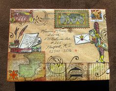 ♥ ✉ Mail art by Jelly Sock, aka Imaginary Mary, aka Mrs. ✉ Snail mail art at its best. Envelope Lettering, Envelope Art, Hand Lettering, Envelope Templates, Collage, Mail Art Envelopes, Fun Mail, Decorated Envelopes, Postage Stamp Art