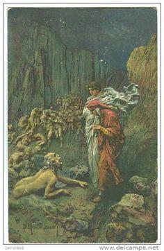 D. Mastroianni, postcard (No. 12), colored, Inferno XIX