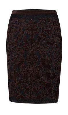 """Vanity"" espresso velvet-appliqued on black lace pencil skirt | Fall 2013 by Etcetera. www.etcetera.com"