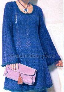 Синее платье из мохера - спицами