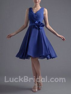 Short Blue Party Dress with Flower