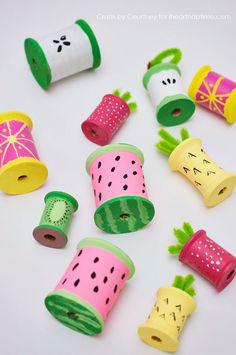 Summer kids craft - Fun Summer Fruit With Thread Spools