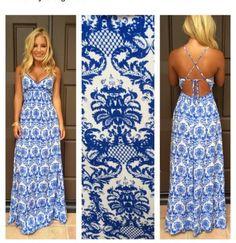 Vestido longo estampa louça portuguesa