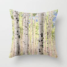 Dreamy Aspen Grove Throw Pillow by The Blonde Dutch Girl - $20.00