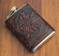 Tooled Leather Flask Western Leather Accessories