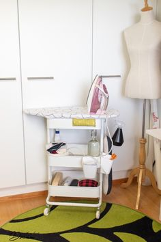 Ironing board on wheels: Your sewing room needs this - IKEA Hackers sew einfach clothes crafts for beginners ideas projects room Ikea Sewing Rooms, Small Sewing Rooms, Sewing Room Storage, Sewing Room Organization, My Sewing Room, Craft Room Storage, Organizing, Sewing Spaces, Fabric Storage