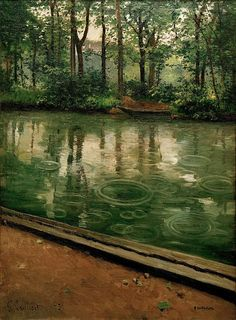 """""""L'Yerres, Pluie"""". (1875). (by Gustave Caillebotte)."""