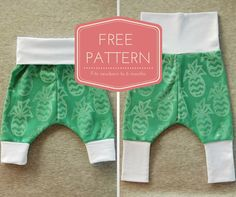 Newborn to 6 months baby pants pattern