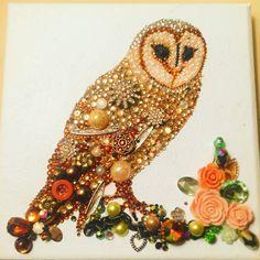 Mixed Media Button art Barn Owl