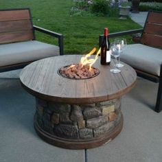 Gas Fire Pit Heater Patio Deck Pool Table Stone Outdoor Open Flame Lighting