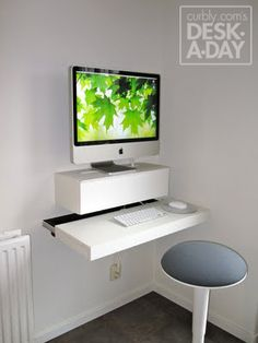 Desk-A-Day: How to Make a Wall Mounted Computer Station Love this!