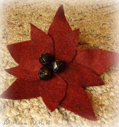 Homemade felt poinsettas for your tree or wreath!