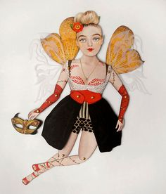 Jubilee the Modern Fairy Paper Puppet Doll, A fay with trendy style.