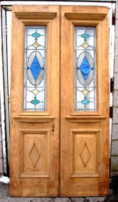 Stained glass double entry doors