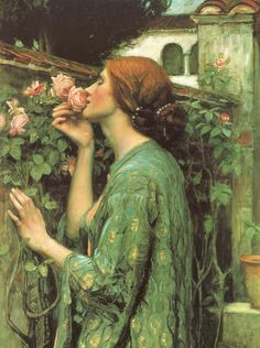 """The Soul of the Rose"". John William Waterhouse (born 6 April 1849; died 10 February 1917) was an English painter known for working in the Pre-Raphaelite style."