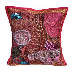 "16"" Indian Cotton Traditional Pillow Beaded Patch Work Handmade Cushion Cover n7 #JunedCraftPalace #ArtDecoStyle"