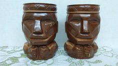 2- Vintage brown painted Hawaiin, Tribal, Tiki drinking glasses