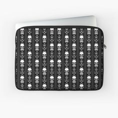 """Black & White Skull Stripes"" Laptop Sleeve by HavenDesign Macbook Air Pro, Sleeve Designs, Back To Black, Laptop Case, Iphone Wallet, Laptop Sleeves, I Shop, Skull, Stripes"