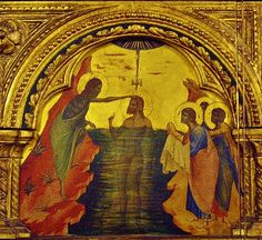 Paolo Veneziano, 14th century, immersion baptism of Christ, Vencie, Italy, photo taken April 21, 2012.