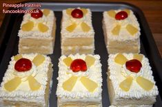 Pineapple pastries are made of soft sponge and filled with whipped cream and pineapples. These pastries are exactly like how you eat in Pakistani bakeries. Fruit Pastry Recipes, Healthy Cake Recipes, Brownie Recipes, Pineapple Pastry, Pinapple Cake, Pineapple Slices, Whipped Cream Cakes, Dessert Drinks, Dessert Ideas