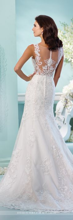 David Tutera for Mon Cheri Fall 2016 Collection - Style No. 216256 Linna - cap sleeve tulle over satin fit and flare wedding dress with lace appliqué illusion back