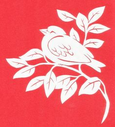 Resting Bird ~Cut paper design Resting Bird-designer, Paula Gail Grisell-Goldstein-Paper cut design of a bird resting on a branch. Ivory paper, approx. 5.625 in. wide.-© copyright PaulaGGG All Rights Reserved - contact stencilletta@gmail.com