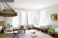 I love this room - but am wondering how you get up to the bed?  A running jump?  Hope it's attached securely . . .