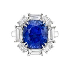 Estate Betteridge Collection 7.11 Carat Sapphire & Diamond Cluster Ring