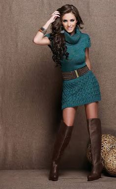 Belted sweater dress & boots. Teal