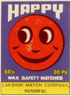 happy ✭ vintage matchbox cover ✭ graphic design inspiration