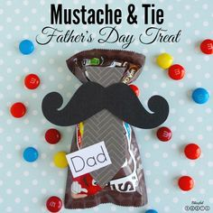 Mustache and tie fathers day m&m treat -fun for a fathers day gift!