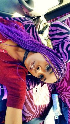 PURPLE HAIR  #blackhair #purplehair #micros #braids