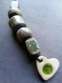 RAKU 5 bead set in Greens and Grey with stoneware and recycled glass heart charm/pendant by Kristie Roeder - https://www.facebook.com/groups/CeramicArtBeadMarket/