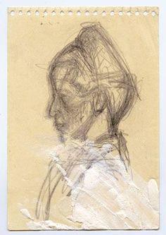 Tête de Simone de Beauvoir de profil, circa 1946, par Alberto Giacometti. Paris,  5,31 x 3,62 in. Fondation Alberto et Annette Giacometti.